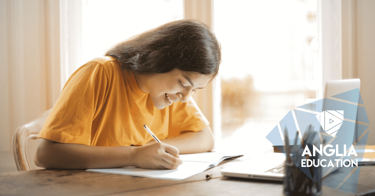 Student studying for her online English exam
