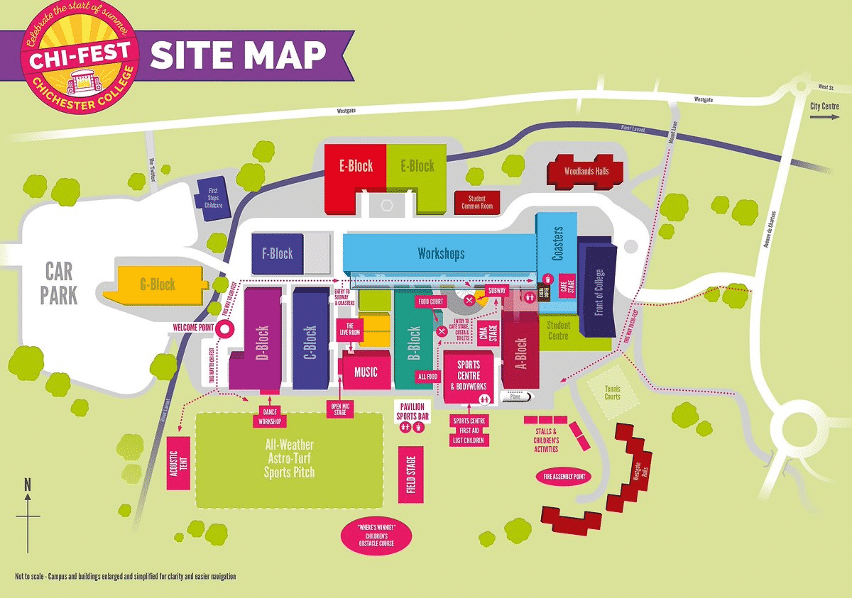 an illustration of the Chichester College campus