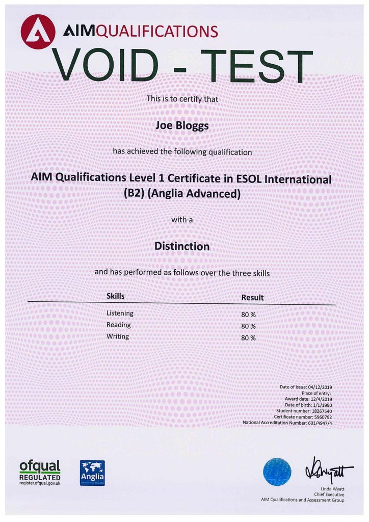 Sample of an Anglia Advanced and AIM Awards Qualification Certificate in ESOL