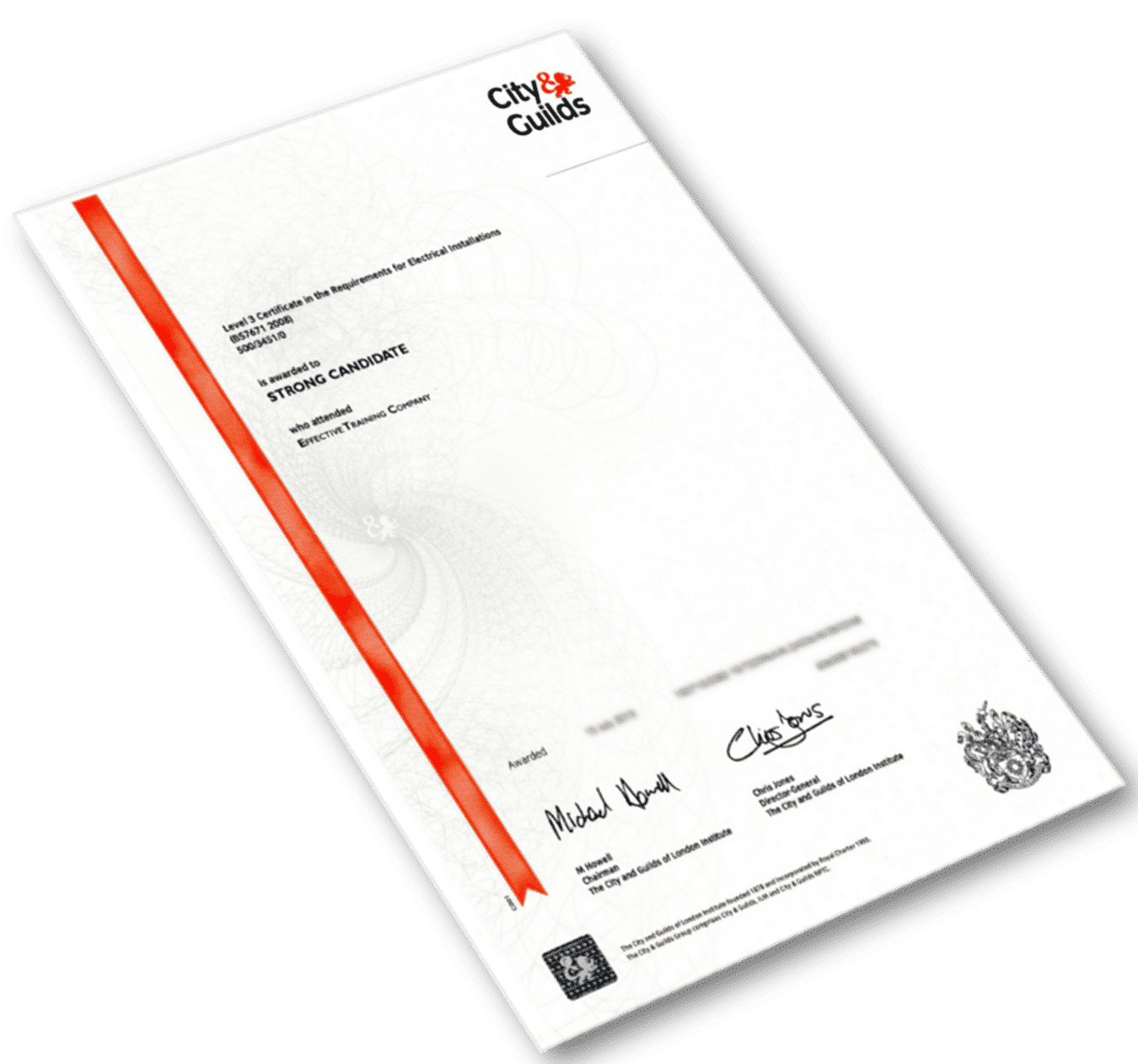 sample copy of City & Guilds accredited certificate