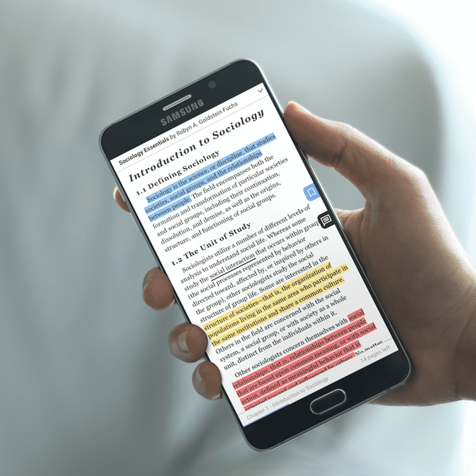 a person reading through Anglia Education's digital library on a mobile phone